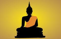 Silhueta de uma Buda Foto de Stock Royalty Free