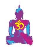Silhueta de uma Buda ilustração stock