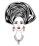 Silhueta de uma cabeça de uma senhora doce Um xaile brilhante e um turbante são amarrados na cabeça de uma menina afro-americano  ilustração stock