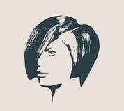 Silhueta de uma cabeça fêmea Opinião do perfil da cara Foto de Stock Royalty Free