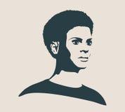 Silhueta de uma cabeça fêmea Opinião do perfil da cara Imagens de Stock Royalty Free