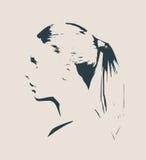 Silhueta de uma cabeça fêmea Opinião do perfil da cara Fotografia de Stock