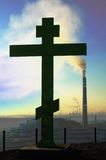 Silhueta de uma cruz Imagem de Stock