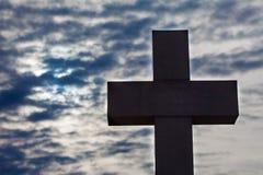 Silhueta de uma cruz Foto de Stock Royalty Free