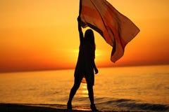 Silhueta de uma dança da menina com uma bandeira Fotografia de Stock Royalty Free
