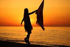 Silhueta de uma dança da senhora com uma bandeira Fotos de Stock