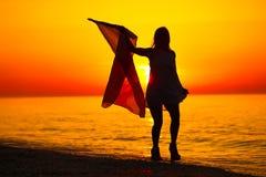 Silhueta de uma dança da senhora com uma bandeira Imagens de Stock