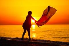 Silhueta de uma dança da senhora com uma bandeira Foto de Stock Royalty Free