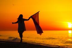 Silhueta de uma dança da senhora com uma bandeira Fotografia de Stock Royalty Free