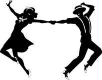 Silhueta de uma dança dos pares Fotografia de Stock