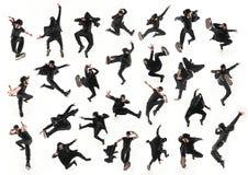 A silhueta de uma dança masculina do dançarino da ruptura do hip-hop no fundo branco fotografia de stock