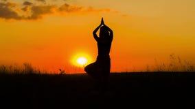 Silhueta de uma ioga praticando da menina no por do sol video estoque