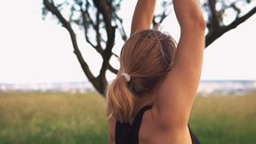 Silhueta de uma ioga praticando da mulher no nascer do sol bonito vídeos de arquivo