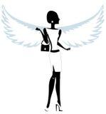 Silhueta de uma jovem mulher com Angel Wings Imagem de Stock Royalty Free