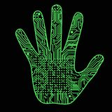 Silhueta de uma mão do homem com um teste padrão da placa de circuito do computador da alto-tecnologia pode ilustrar as ideias ci Imagens de Stock Royalty Free