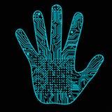 Silhueta de uma mão do homem com um teste padrão da placa de circuito do computador da alto-tecnologia pode ilustrar as ideias ci ilustração royalty free