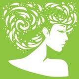 Silhueta de uma menina com penteado original ilustração royalty free