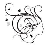 Silhueta de uma menina no perfil Fotos de Stock Royalty Free