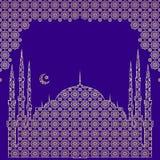 Silhueta de uma mesquita, um crescente com uma estrela, em um arco de um ornamento oriental a c?u aberto tradicional do vetor Liv ilustração royalty free