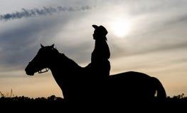 Silhueta de uma mo?a com um chap?u em um cavalo no fundo do c?u do por do sol imagem de stock royalty free