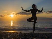 Silhueta de uma mulher bonita da ioga na manhã imagens de stock