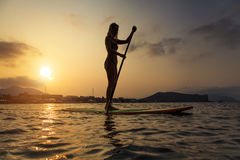A silhueta de uma mulher bonita levanta-se sobre a placa de pá Imagem de Stock