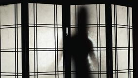 Silhueta de uma mulher que dance para o vidro translúcido filme