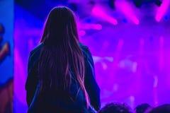 Silhueta de uma multidão grande no concerto contra um veado brilhantemente iluminado foto de stock royalty free