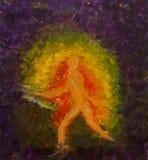 Silhueta de uma pessoa no movimento Energia humana nas cores dos chakras Pintura a óleo na lona Foto de Stock