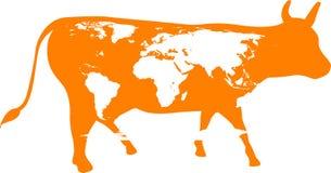 Silhueta de uma vaca manchada Imagens de Stock