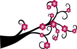 Silhueta decorativa da árvore do ramo com flor vermelha ilustração royalty free