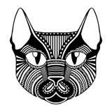 Silhueta decorativa ornamentado modelada étnica do gato da cara Imagem de Stock Royalty Free