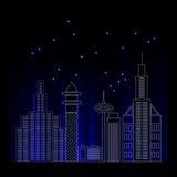 Silhueta detalhada da skyline da cidade Ilustração na moda, linha estilo da arte Vetor Imagem de Stock