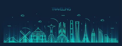 Silhueta detalhada de viagem da skyline do fundo ilustração do vetor