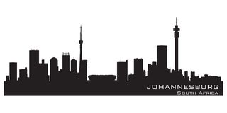 Silhueta detalhada do vetor da skyline de Joanesburgo África do Sul ilustração royalty free