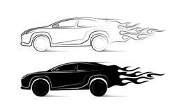Silhueta dinâmica do carro, assuntos automotivos do ícone ilustração stock