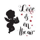 A silhueta do amor do cupido com harpa e amor está no ar Imagens de Stock Royalty Free