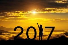 Silhueta do ano novo feliz 2017 Fotos de Stock