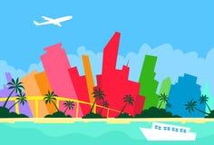 Silhueta do arranha-céus da cidade da skyline do sumário de Miami ilustração do vetor