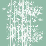 Silhueta do bambu e dos pássaros Fotografia de Stock Royalty Free