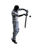Silhueta do batedor do jogador do grilo Imagens de Stock Royalty Free