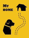 Silhueta do cão e da estrada a dirigir Estilo liso Vetor ilustração do vetor