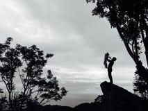 Silhueta do cão e do alpinista imagem de stock