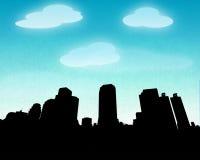 Silhueta do céu azul da cidade Fotos de Stock