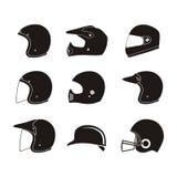 Silhueta do capacete - grupos do ícone do capacete Imagem de Stock Royalty Free