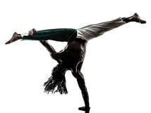 Silhueta do capoeira da dança do dançarino do homem negro Imagem de Stock