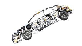 A silhueta do carro feita dos detalhes 3d não rende no branco nenhuma sombra ilustração royalty free