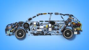 A silhueta do carro feita dos detalhes 3d rende no azul ilustração royalty free