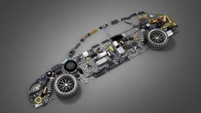 Silhueta do carro feita dos detalhes 3d render no cinza ilustração stock