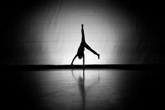 Silhueta do Cartwheel Fotografia de Stock